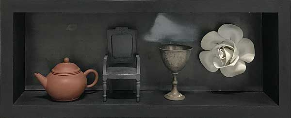Peter Tilley  Memories of Times Past (Interior) 2009  found objects, timber 15.5 x 38.5 x 7.5cm