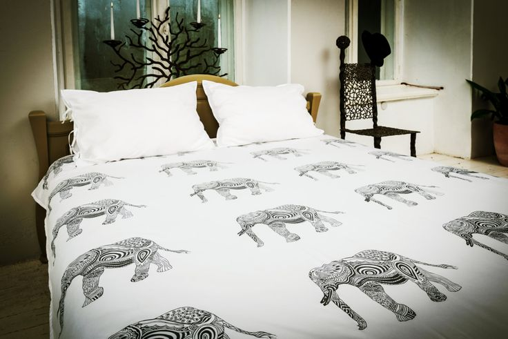 Elephant print organic bed linen SET (duvet cover and pillowcase) organic sateen, elephant bedding, handmade, comforter set, by SeiliBedding on Etsy