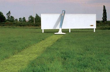 BIC Razor Billboard: The billboard is blank except for a small logo, but without it the advertisement might be missed and it acts as a good backdrop for the giant razor and cut grass.