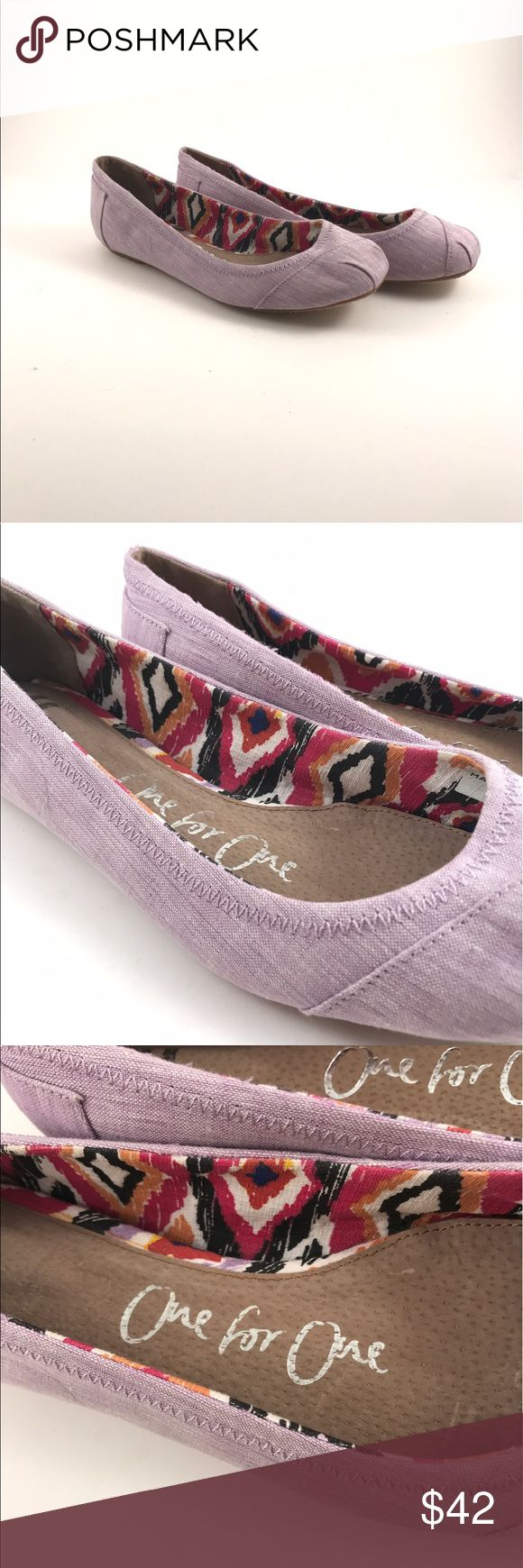 TOMS light purple One for One woman's shoes TOMS One for One light purple woman's shoes. Pre-owned see pictures for condition. Woman's size 9.5 Toms Shoes Flats & Loafers