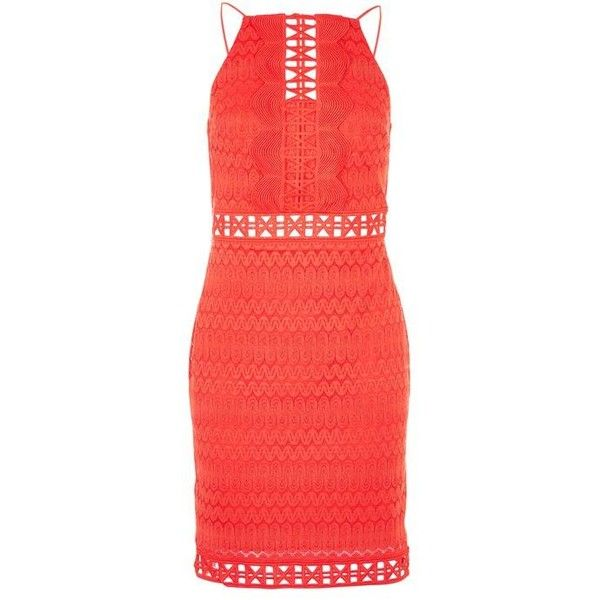 Topshop Crochet Lace Trim Mini Dress ($48) ❤ liked on Polyvore featuring dresses, red mini dress, crochet dress, short party dresses, night out dresses and holiday party dresses