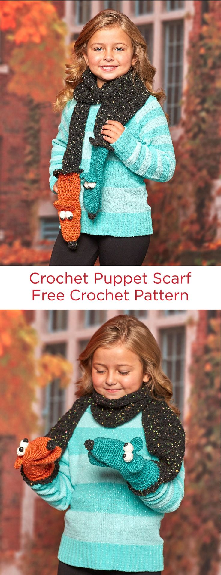 Crochet Puppet Scarf Free Crochet Pattern in Red Heart Yarns -- This fun crochet accessory will keep 'em warm and offer an opportunity for creative play. Puppets at the two ends of the scarf keep their hands warm as they play with the puppets!
