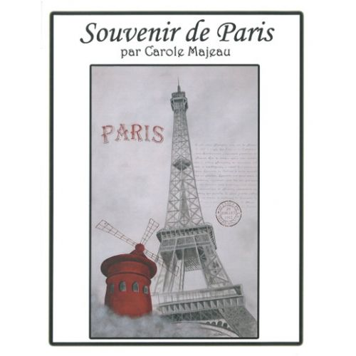 Création de Carole Majeau - Patron de projet à faire à l'acrylique et feuilles miroir, pochoir Paris, tour eiffel, moulin rouge, souvenir de voyage, peinture