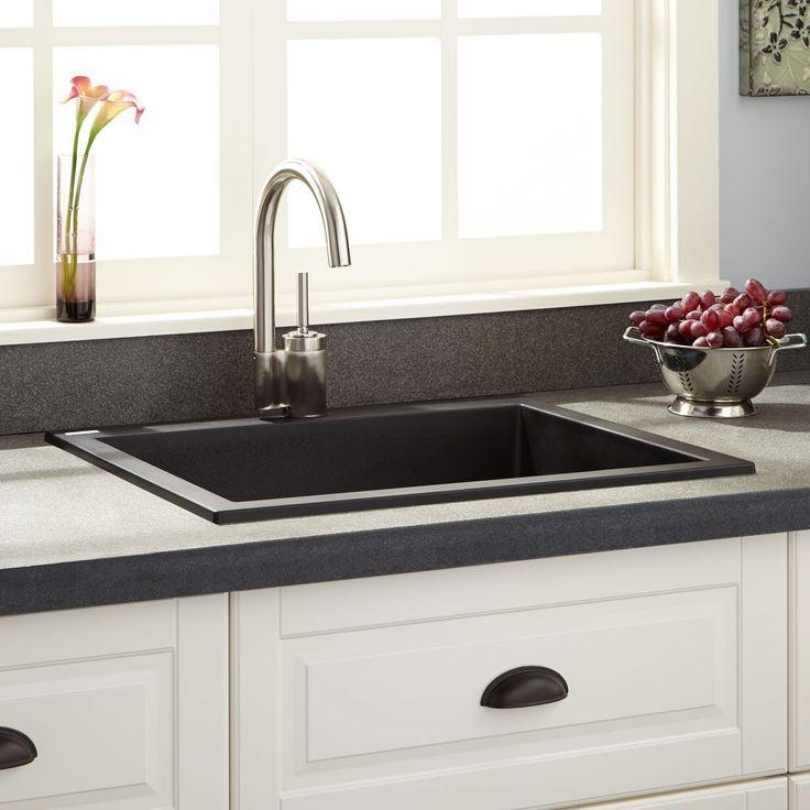 "24""+Holcomb+Drop-In+Granite+Composite+Sink+-+Black"