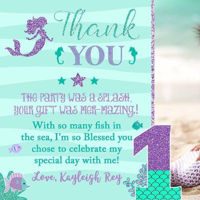 Cute Under the Sea Thank You Baby Shower Thank You Card INSTANT DOWNLOAD Mercorn Birthday Supply Mermaid and Mercorn Thank You Cards