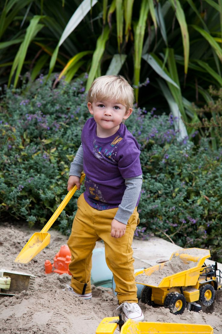 Yellow chinos with turn-up detail worn with purple raglan-sleeved top, all Leigh Tucker Willow