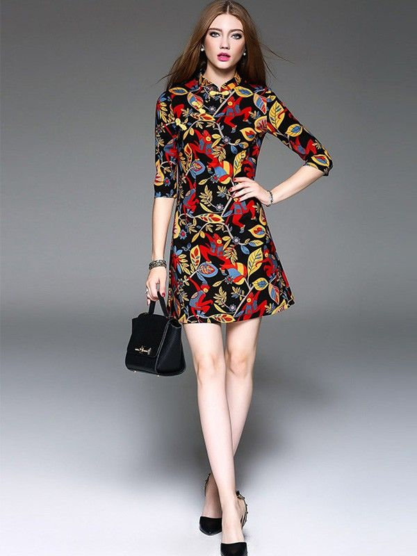 Sweet-Nature Colorblock Printed Qipao / Cheongsam Dress