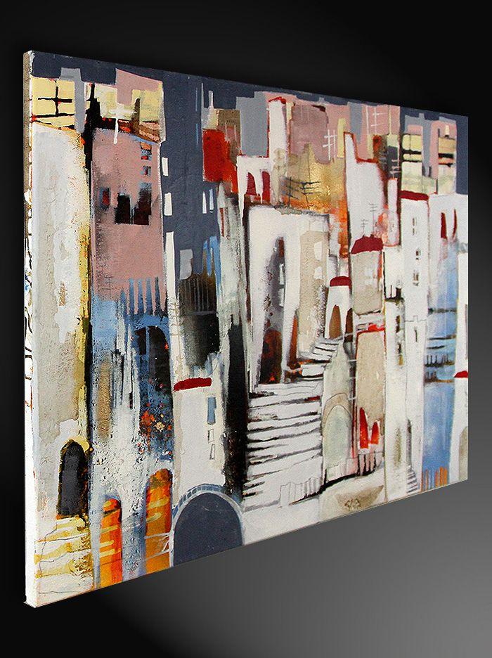 Gemäldetitel: Treppe zur Altstadt Künstler: Conny Niehoff Maße: 100 x 70 cm Material: feinste Künstleracrylfarben, Leinwand auf Holzkeilrahmen Stilvolles modernes Gemälde, signiert & datiert.