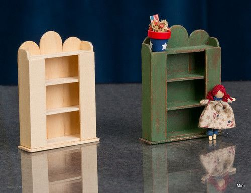"Miniature Unfinished Wood Cupboard Furniture for Dollhouse  Scale 1 12 .   3"" t  X 2 1/4"" w. X  - 3/4"" d..    from instructions in an old Nutshell New magazine  Looks like tongue depressers to me."
