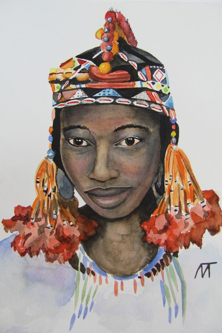 Traditional headdress (painted from the photo by Joe Penney, 2013) Watercolours, 30х40, 2016