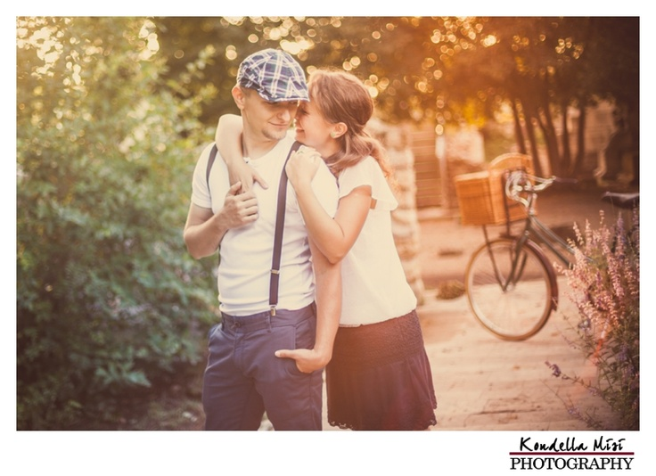 Budapest vintage engagement love session in spring time at sunrise with bicycle