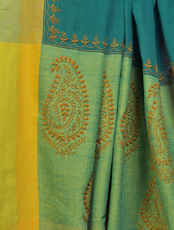 Teal Yellow Handloom Bengal Cotton Chikankari Saree