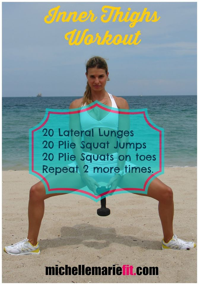 This is a great inner thighs workout at home.   You don't need any equipment.  If you do exercises with resistance, like these, you will get you the best results. You will be able to tone the inner thighs and burn tons of calories. 20 Lateral Lunges 20 Plie Squat Jumps 20 Plie Squats on toes  Repeat 2 more times.