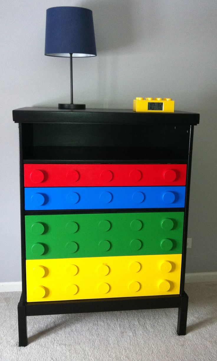 lego furniture for kids rooms. finally a place to put all the legos this old dresser was repainted in black and drawers just painted primary colors then wooden discs were glued lego furniture for kids rooms r