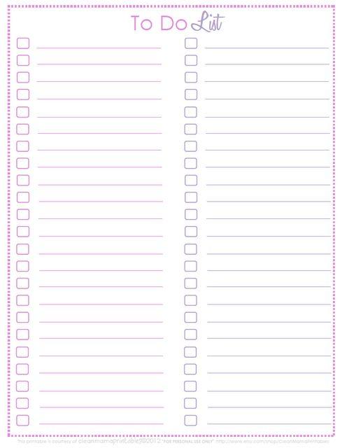 To Do List - free printable