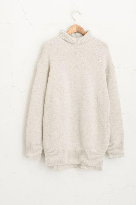 Side Slit Knit Roll neck Jumper, Grey