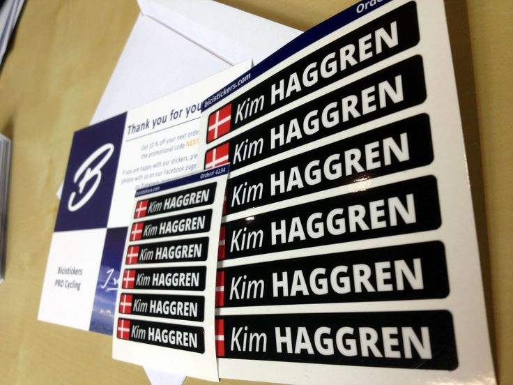 Cycling stickers with custom name and flag for your bicycle or helmet produced by bicistickers.com. The stickers can be printed either on white or transparent vinyl. All stickers are laminated for maximum durability.