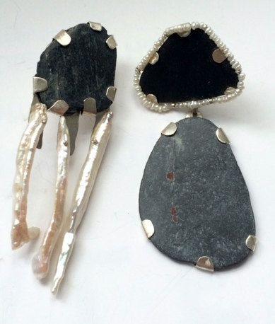 Silver Asymmetrical Pearl earrings by kochiokada on Etsy