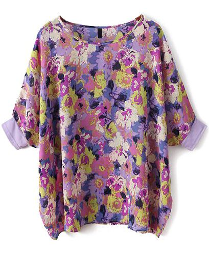 Purple Batwing Sleeve Floral Loose Chiffon Blouse