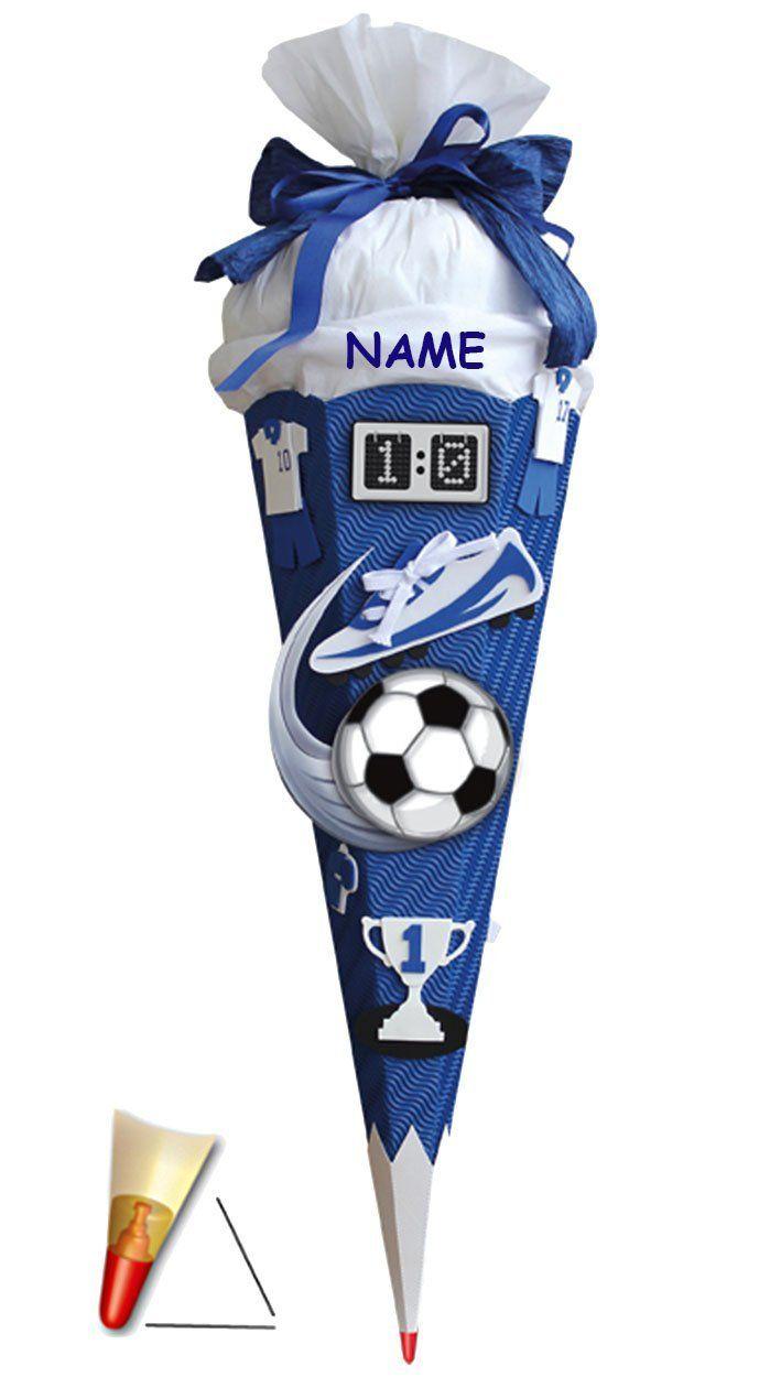 BASTELSET Schultüte - Fußball 85 cm - incl. Namen - mit Holzspitze - Zuckertüte Roth - ALLE Größen - 6 eckig Fußballer Fussball Sport Jungen Weiß Blau: Amazon.de: Spielzeug