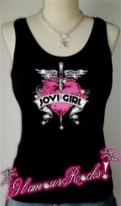 Bon Jovi Heart Dagger Rhinestone T Tee Shirt Tank by Glamourrocks, $25.99