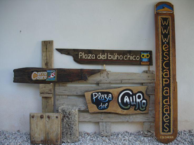 letreros originales en madera reutilizada