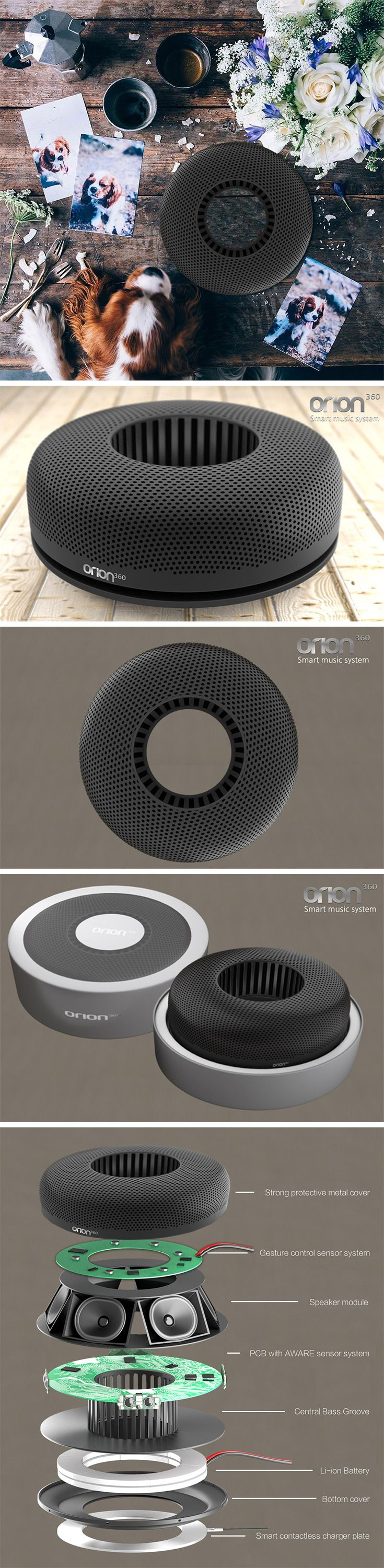 The donut shape of the ORION360 speaker isn't only adorable, it's also highly functional, providing 360 degrees of high definition audio you can take anywhere! Free of any buttons or confusing controls, the ring also serves as a gestural interface where users can swipe to skip, draw a circle to adjust volume, or hover to play/pause… just incorporate gestures into your dance moves!