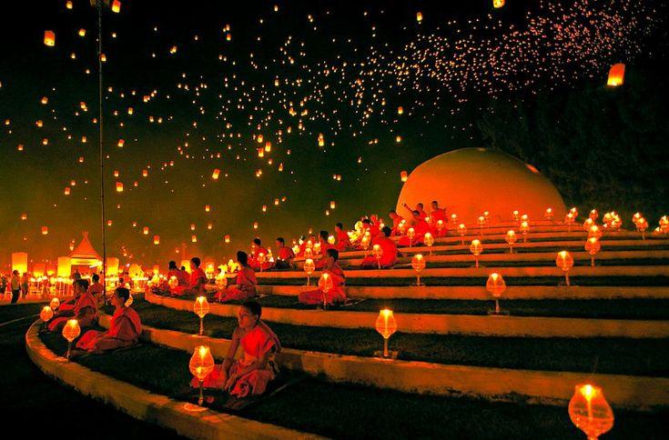 Monks pray in Loy Krathong Festival, Chiang Mai