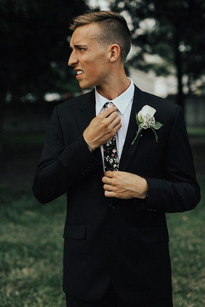 Modern groom outfit ide - black suit with patterned necktie {Clay Swanson Photography}
