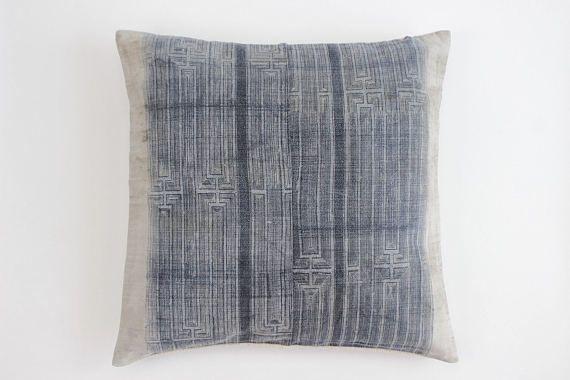 Boho Bohemian Vintage HMONG Hemp Textile Batik Hand dyed Embroidered Ethnic Textile Blue Navy Nautical Pillow Case (stains) 01