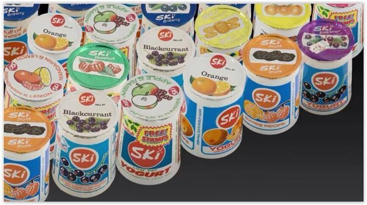 Ski yoghurt. The first yoghurt I ever tasted was Ski, hazelnut flavour, and I hated it. Now I love it, and hazelnut is my favourite flavour!