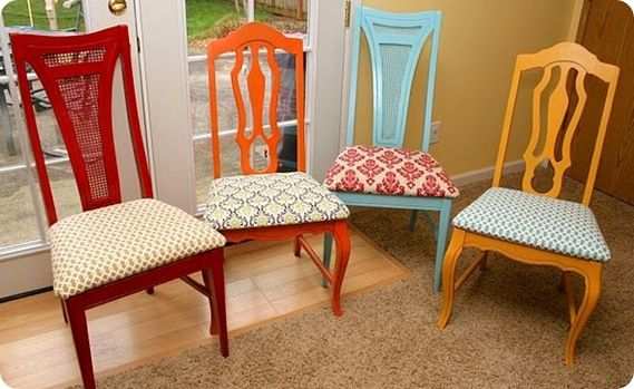 need to keep an eye out for inexpensive chairs to refinish.  I think I would make them all the same color, but with different designs.