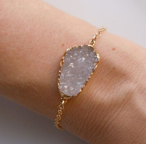Druzy Bracelet White and Gold by 443Jewelry on Etsy