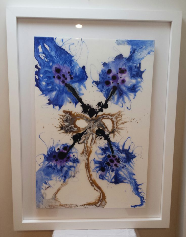 """Resin art original by Claudia Paddison - """"Blue Posy"""".  86cm x 117cm  see more on www.facebook.com/claudiascreationsbycp"""