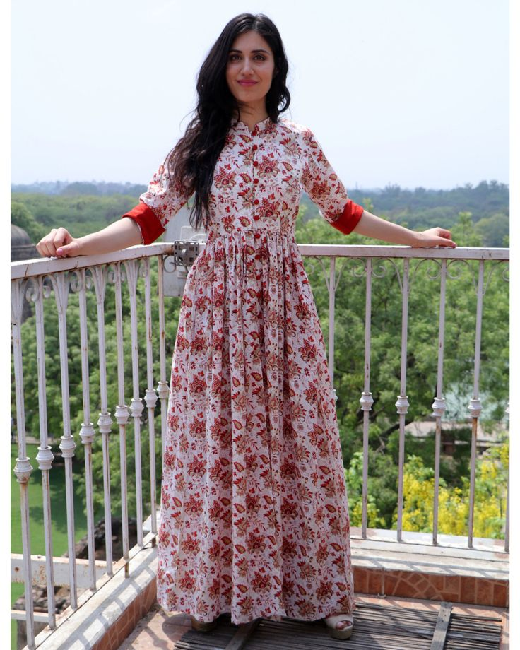 The Secret Label Rust Cotton Printed Front Slit Kurti