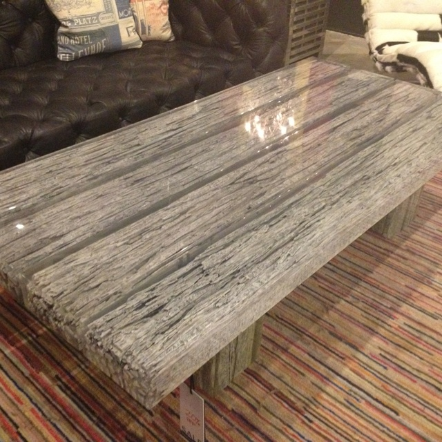 Acrylic encased silver leafed wood beam coffee table. H.D. Buttercup, San Francisco.
