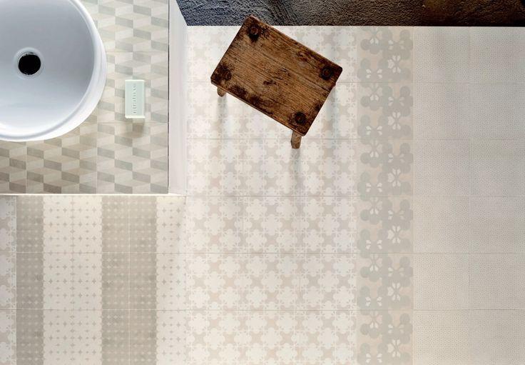Azulej  Bianco Patterns Left Right, Trevo, Estrera, Flores, Natural