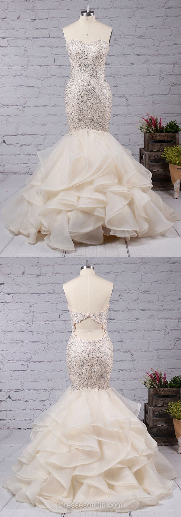Trumpet/Mermaid Sweetheart Organza Sweep Train with Appliques Lace Prom Dresses