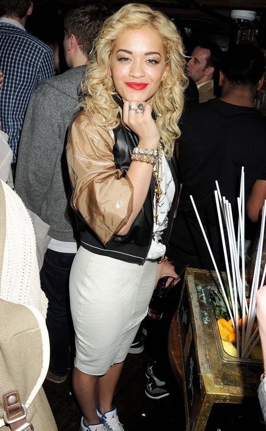 Rita Ora in Kim West latex and neoprene skirt...