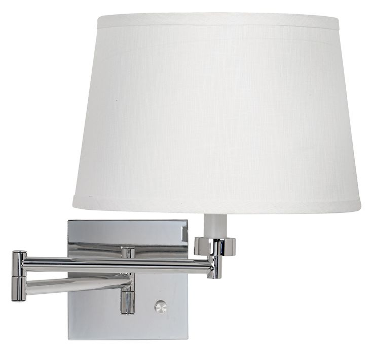 White Linen Drum Shade Chrome Plug-In Swing Arm Wall Lamp -