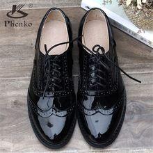 100% zapatos planos de cuero Genuino de las mujeres EE.UU. tamaño 11 hecho a mano 2016 estilo Británico de la vendimia zapatos oxford de charol negro para mujeres(China (Mainland))
