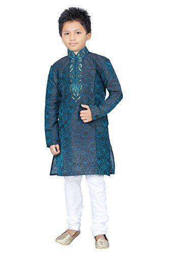 Indian Kurta Sherwani Boys Suit in Green (2 Pcs) 1-12 Yea…