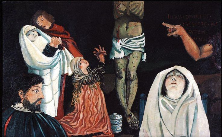 Grunewald dipinge la crocefissione,  1975 olio su tela