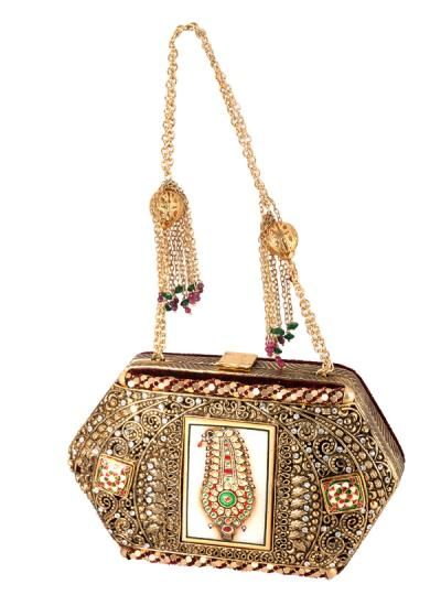 Lavish Heavily Embellished Clutch by Meera Mahadevia | Indian Designers | Indian Bags and Clutches