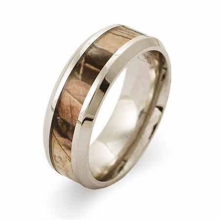 In sizes 9 to 12, the Engravable Stainless Steel 8MM Wood Design Camo Ring comes with a wood design camo inlay for a rugged and sleek style.