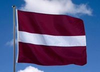 Latvia flag is classy and love this color! Jake bought one...I think he's turning latvian after college there. LOVE this country!!