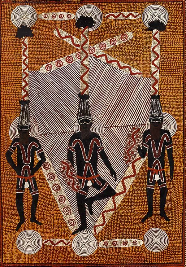 Clifford Possum Tjapaltjarri – Papunya dot art Corroboree painting
