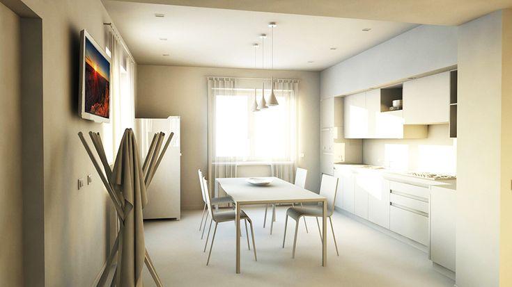 bram | openspace - vista su cucina e dettaglio lampade Foscarini Aplomb