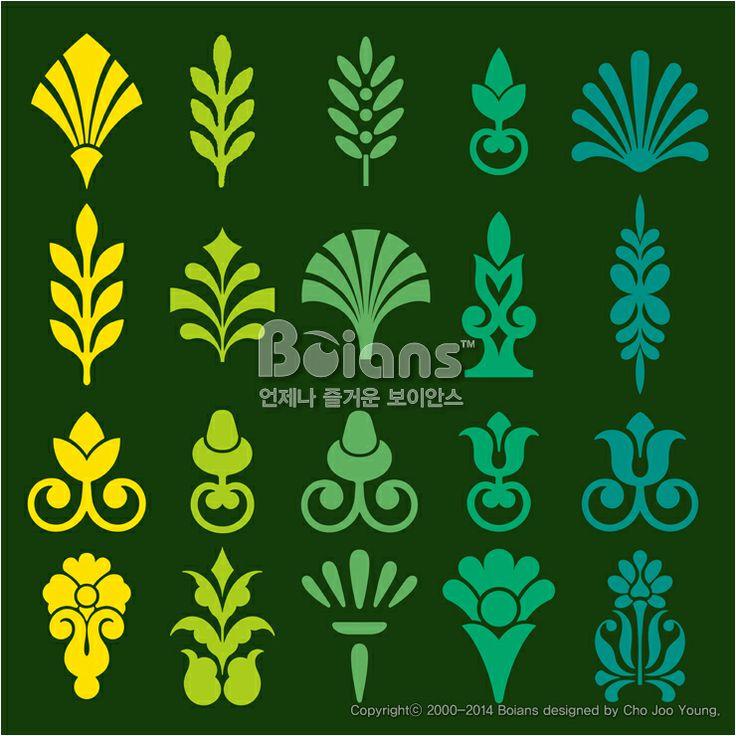 다른 스타일의 꽃과 식물 문양 세트. 오리지널 패턴과 문양 시리즈. (BPTD020107) Different styles of Flower and Plant Symbol Sets. Original Pattern and Symbol Series. Copyrightⓒ2000-2014 Boians.com designed by Cho Joo Young.