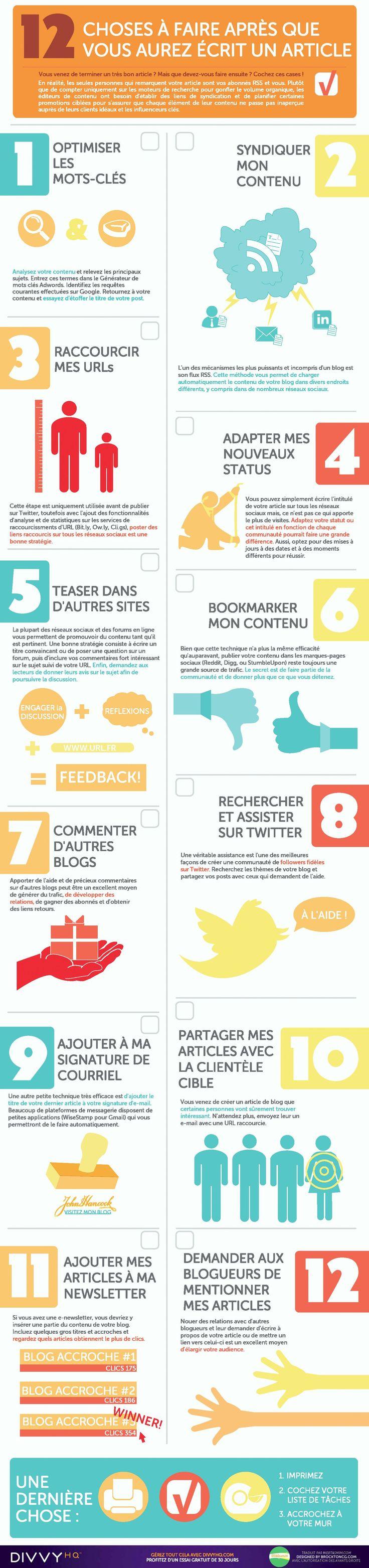 #Infographie : 12 choses à faire après avoir rédigé un article  #CM #Blogging @1min30
